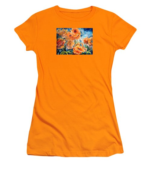 September Orange Poppies            Women's T-Shirt (Athletic Fit)