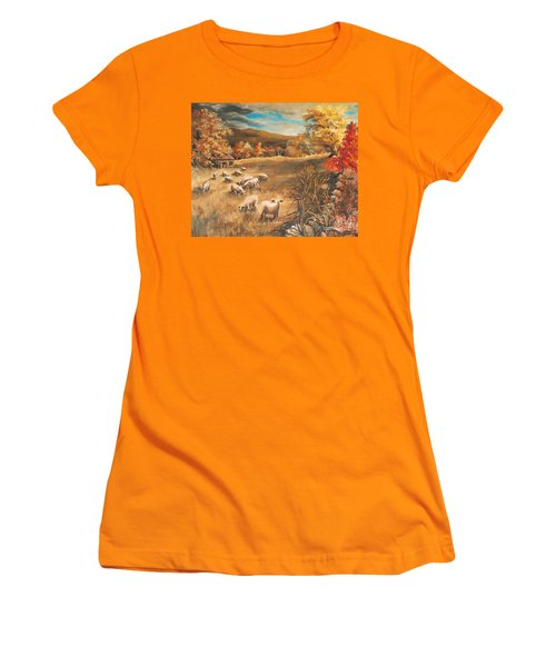 Sheep In October's Field Women's T-Shirt (Junior Cut) by Joy Nichols