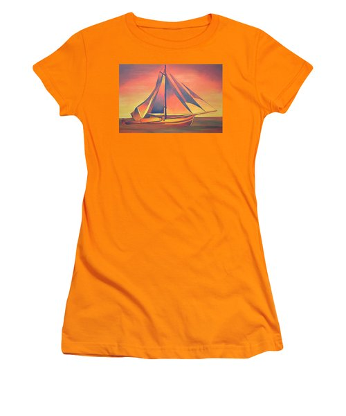 Women's T-Shirt (Junior Cut) featuring the painting Sienna Sails At Sunset by Tracey Harrington-Simpson