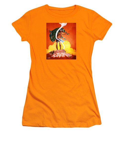 Women's T-Shirt (Junior Cut) featuring the painting Signal From The Mesa by Al Brown
