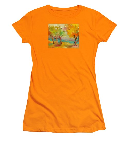 Soft Trees Women's T-Shirt (Junior Cut) by Michelle Abrams