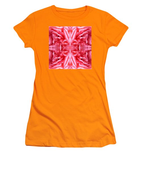 Women's T-Shirt (Junior Cut) featuring the photograph Square Petals Abstract Art Photo by Marianne Dow