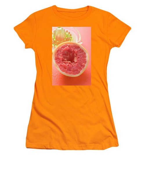 Squeezed Pink Grapefruit In Front Of Citrus Squeezer Women's T-Shirt (Athletic Fit)