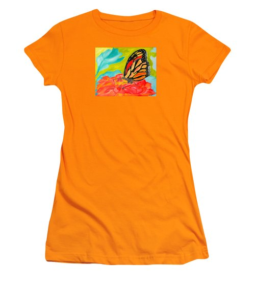 Stained Glass Flutters Women's T-Shirt (Junior Cut) by Meryl Goudey