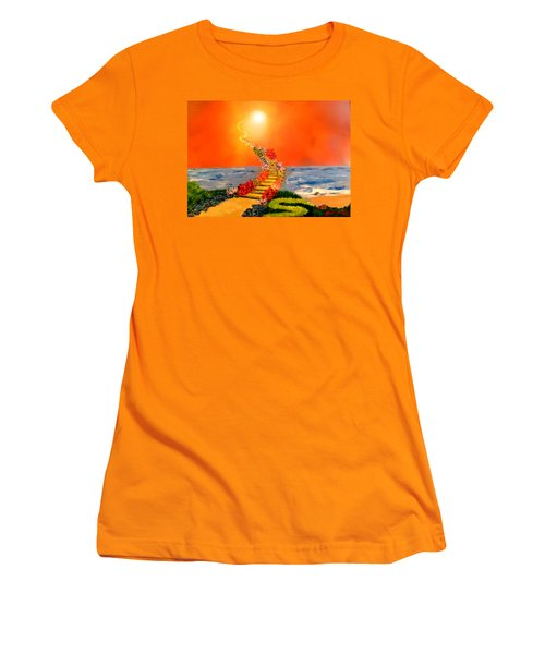 Women's T-Shirt (Junior Cut) featuring the painting Stairway To Heaven by Michael Rucker