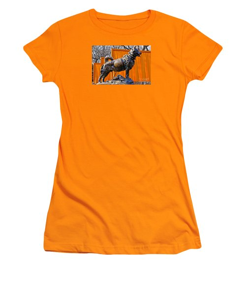 Statue Of Balto In Nyc Central Park Women's T-Shirt (Junior Cut) by Anthony Sacco