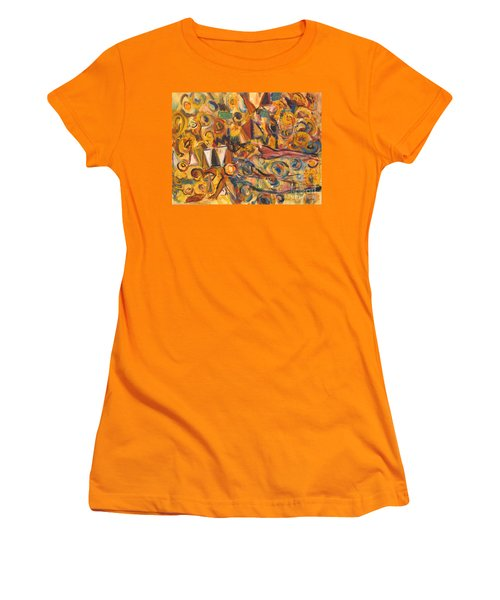 Sun- Bathing Among Yellow  Roses Women's T-Shirt (Athletic Fit)