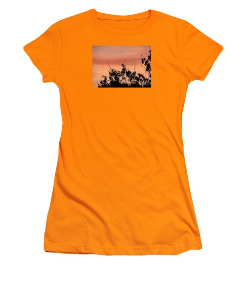 Women's T-Shirt (Junior Cut) featuring the photograph Sun Up Silhouette by Joy Hardee