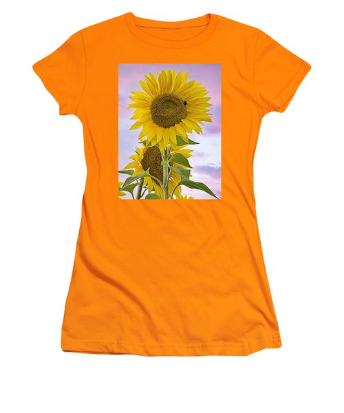 Sunflower With Colorful Evening Sky Women's T-Shirt (Athletic Fit)