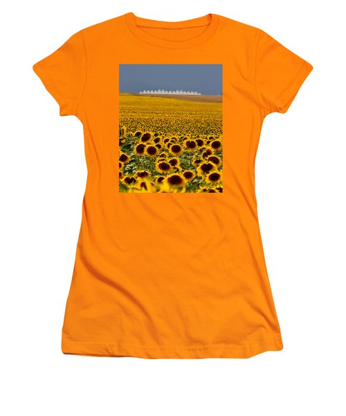 Women's T-Shirt (Junior Cut) featuring the photograph Sunflowers And Airports by Ronda Kimbrow