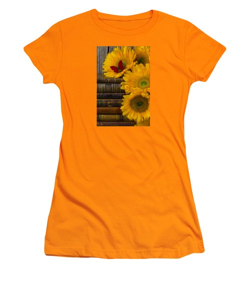Sunflowers And Old Books Women's T-Shirt (Junior Cut) by Garry Gay