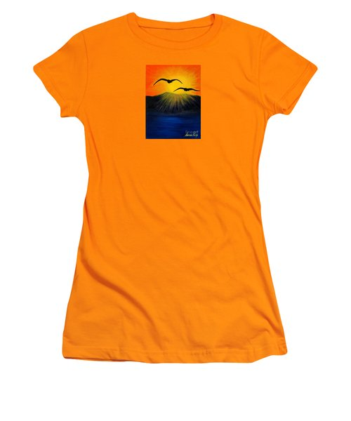 Sunrise And Two Seagulls Women's T-Shirt (Athletic Fit)
