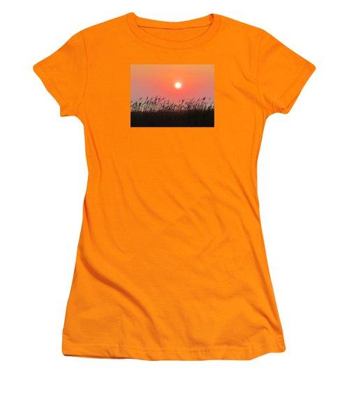 Women's T-Shirt (Junior Cut) featuring the photograph Sunset At The Beach by Cynthia Guinn