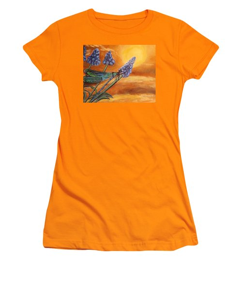 Women's T-Shirt (Junior Cut) featuring the painting Summer Sunset Over A Dragonfly by Kimberlee Baxter