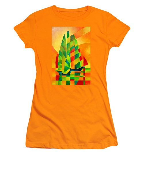 Women's T-Shirt (Junior Cut) featuring the painting Sunset Sails And Shadows by Tracey Harrington-Simpson