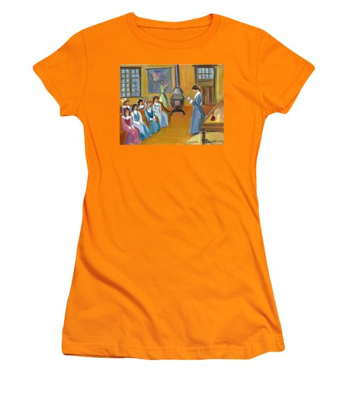 Women's T-Shirt (Junior Cut) featuring the painting Susan B. Anthony Teaching In Canajoharie by Betty Pieper