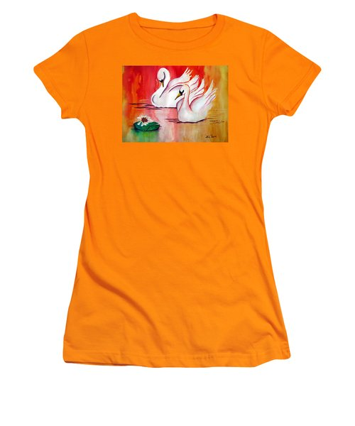 Swans In Love Women's T-Shirt (Junior Cut) by Lil Taylor