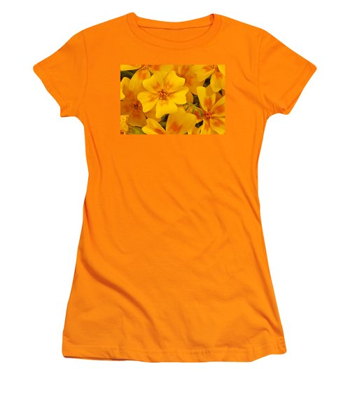 Women's T-Shirt (Junior Cut) featuring the photograph Tagette Marigold Blossoms Macro by Sandra Foster