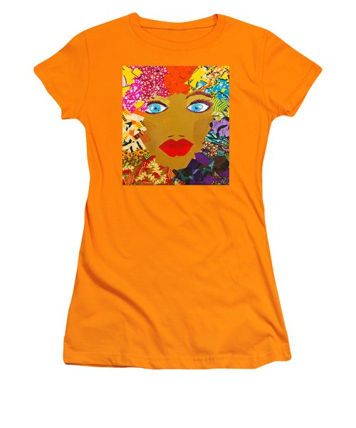Women's T-Shirt (Junior Cut) featuring the tapestry - textile The Bluest Eyes by Apanaki Temitayo M