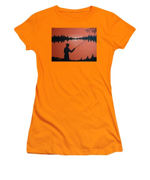 Women's T-Shirt (Junior Cut) featuring the painting The Golden Hour by Norm Starks