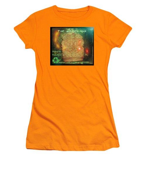 Women's T-Shirt (Junior Cut) featuring the photograph The Green Man - Recycle by Absinthe Art By Michelle LeAnn Scott