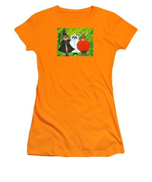 Women's T-Shirt (Junior Cut) featuring the painting The Halloween Gang by Jennifer Lake