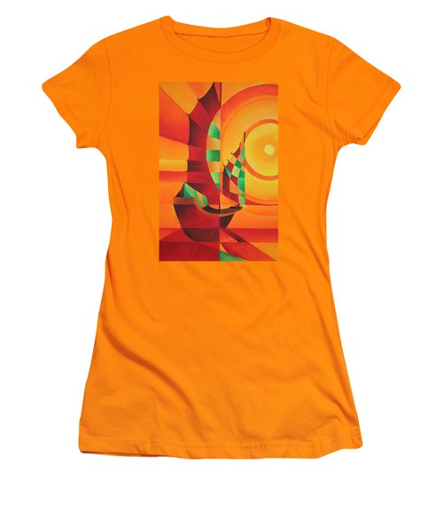 Women's T-Shirt (Junior Cut) featuring the painting The Red Sea by Tracey Harrington-Simpson