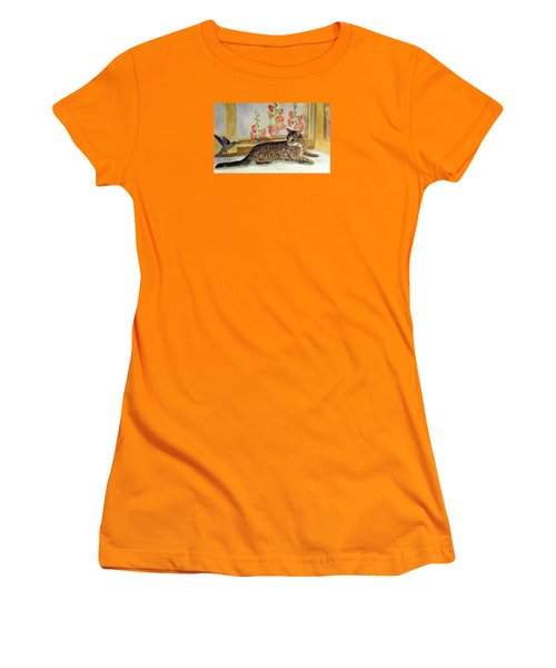 Women's T-Shirt (Junior Cut) featuring the painting The Visitor by Angela Davies