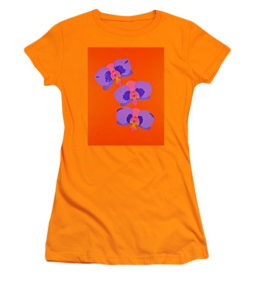 Women's T-Shirt (Junior Cut) featuring the mixed media Three Orchids by Michele Myers