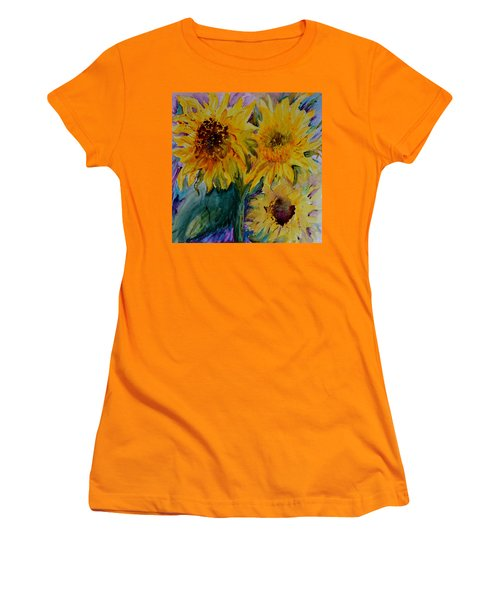 Three Sunflowers Women's T-Shirt (Junior Cut) by Beverley Harper Tinsley