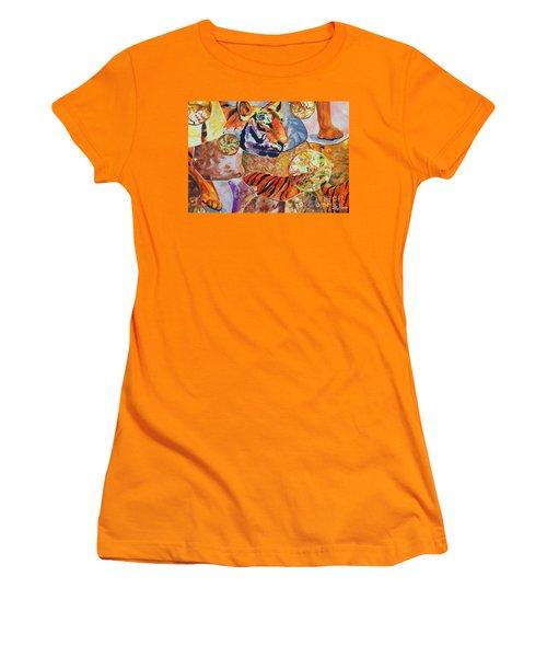 Women's T-Shirt (Junior Cut) featuring the painting Tiger Mosaic by Daniel Janda