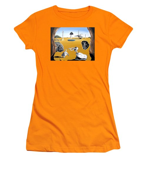 Women's T-Shirt (Junior Cut) featuring the painting Time Travel by Ryan Demaree
