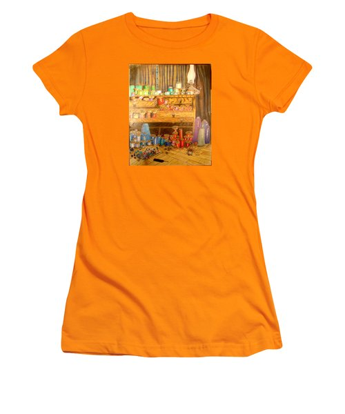 Women's T-Shirt (Junior Cut) featuring the drawing Tool Chest With Thimbles by Joseph Hawkins