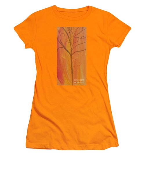 Women's T-Shirt (Junior Cut) featuring the painting Tree Of Three Coral by Robin Maria Pedrero