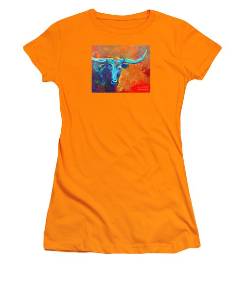 Turquoise Longhorn Women's T-Shirt (Junior Cut) by Karen Kennedy Chatham
