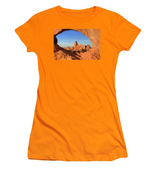 Women's T-Shirt (Junior Cut) featuring the photograph Turret Arch Through North Window by Alan Vance Ley
