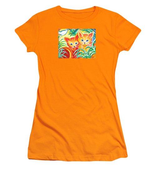 Two Cats Women's T-Shirt (Junior Cut) by Anya Heller