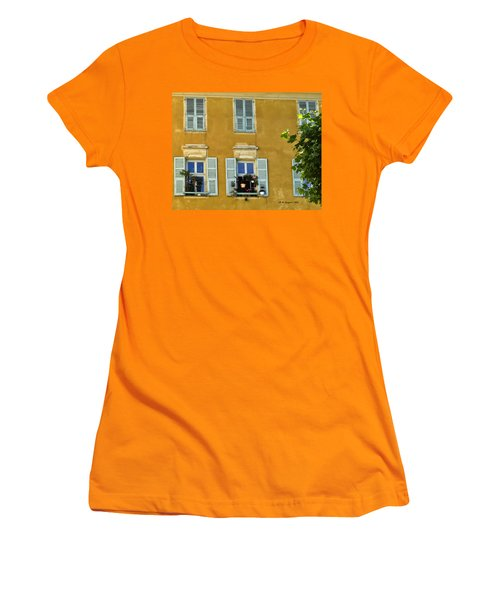 Women's T-Shirt (Junior Cut) featuring the photograph Windowboxes In Nice France by Allen Sheffield
