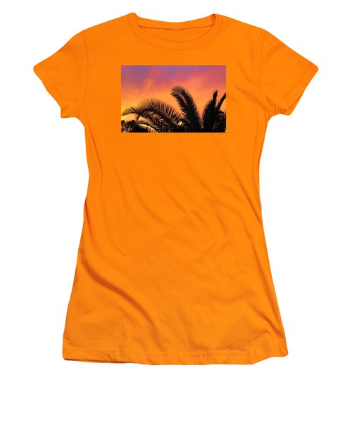 Women's T-Shirt (Junior Cut) featuring the photograph Winter Sunset by Tammy Espino