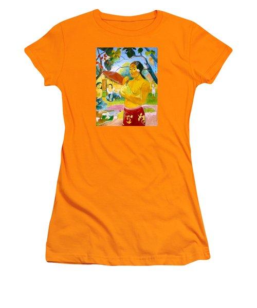 Woman Holding Fruit Women's T-Shirt (Junior Cut) by Henryk Gorecki