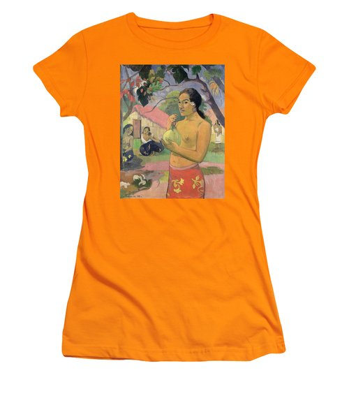 Woman With Mango Women's T-Shirt (Athletic Fit)