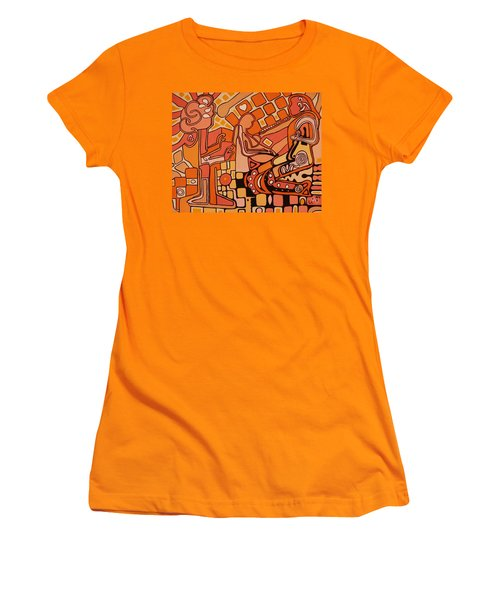 Women's T-Shirt (Junior Cut) featuring the painting You Me And The Machine by Barbara St Jean