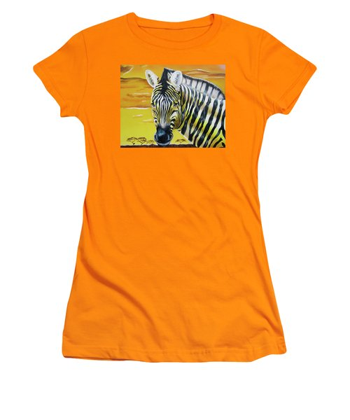 Women's T-Shirt (Athletic Fit) featuring the painting As Day As Night by Thomas J Herring