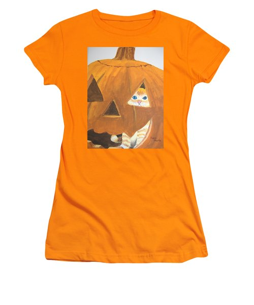 Women's T-Shirt (Junior Cut) featuring the painting Peekaboo by Norm Starks