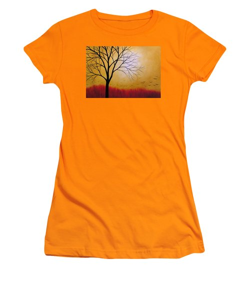 Women's T-Shirt (Junior Cut) featuring the painting Abstract Original Tree Painting Summers Anticipation By Amy Giacomelli by Amy Giacomelli