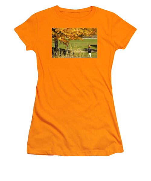 Women's T-Shirt (Junior Cut) featuring the photograph Autumn At The Schoolground by Mick Anderson