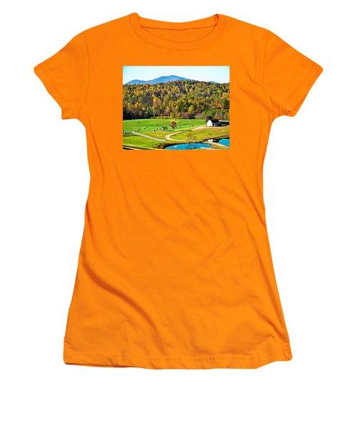 Women's T-Shirt (Junior Cut) featuring the photograph Autumn On The Farn by Susan Leggett