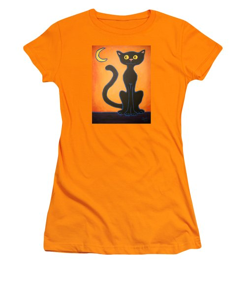 Black Cat Women's T-Shirt (Athletic Fit)