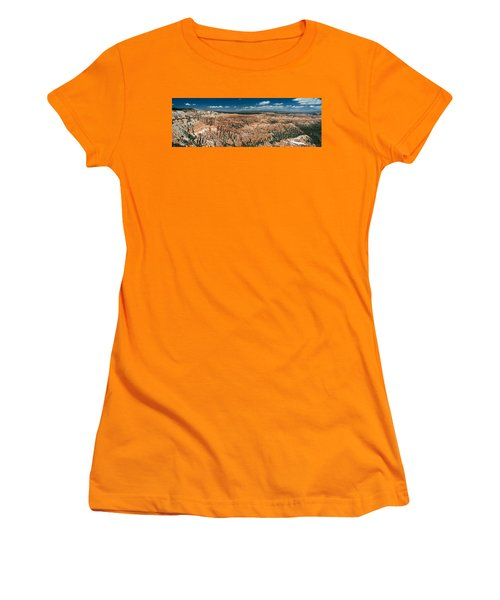 Bryce Canyon Panaramic Women's T-Shirt (Junior Cut) by Larry Carr