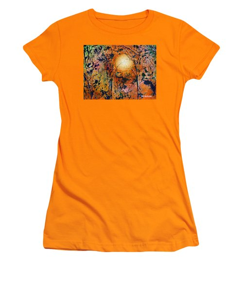 Women's T-Shirt (Junior Cut) featuring the painting Copper Moon by Dan Whittemore